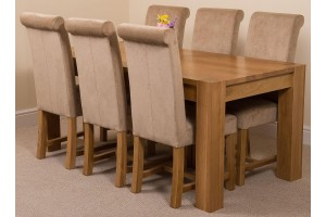 Kuba Solid Oak 180cm Dining Table with 6 Washington Dining Chairs [Beige Fabric]