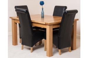 Seattle Solid Oak 150cm-210cm Extending Dining Table with 4 Montana Dining Chairs [Black Leather]