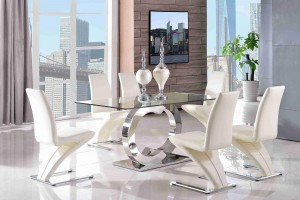 Channel Glass and Polished Steel Dining Table with 4 Zed Designer Dining Chairs [Ivory]