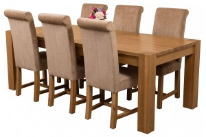 Kuba Solid Oak 220cm Dining Table with 6 Washington Dining Chairs [Beige Fabric]