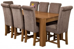 Kuba Solid Oak 180cm Dining Table with 8 Washington Dining Chairs [Grey Fabric]