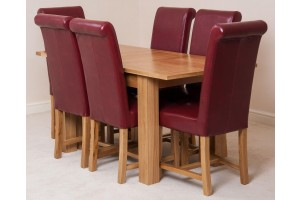 Hampton Solid Oak 120-160cm Extending Dining Table with 6 Washington Dining Chairs [Burgundy Leather]