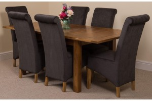 Cotswold Rustic Solid Oak 132cm-198cm Extending Farmhouse Dining Table with 6 Montana Dining Chairs [Black Fabric]