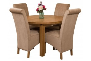 Edmonton Solid Oak Extending Oval Dining Table with 4 Montana Dining Chairs [Beige Fabric]