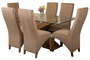 Valencia Oak 160cm Wood and Glass Dining Table with 6 Lola Dining Chairs [Beige Fabric]