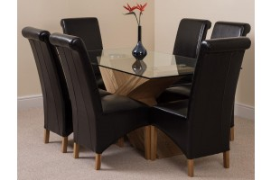Valencia Oak 160cm Wood and Glass Dining Table with 6 Montana Dining Chairs [Black Leather]