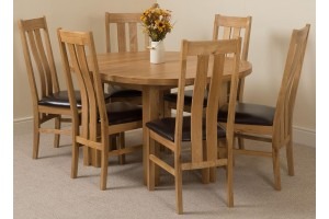 Edmonton Solid Oak Extending Oval Dining Table With 6 Princeton Solid Oak Dining Chairs [Light Oak and Brown Leather]
