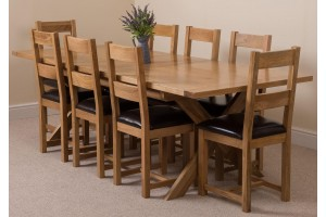 Vermont Solid Oak 200cm-240cm Crossed Leg Extending Dining Table with 8 Lincoln Solid Oak Dining Chairs [Light Oak and Brown Leather]