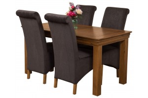French Chateau Rustic Solid Oak 150cm Dining Table with 4 Montana Dining Chairs [Black Fabric]