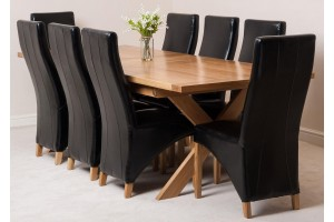 Vermont Solid Oak 200cm-240cm Crossed Leg Extending Dining Table with 8 Lola Dining Chairs [Black Leather]