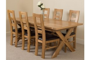 Vermont Solid Oak 200cm-240cm Crossed Leg Extending Dining Table with 6 Yale Solid Oak Dining Chairs [Light Oak and Brown Leather]