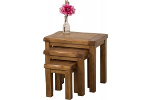 Cotswold Rustic Solid Oak Nest of Tables [3 Tables]