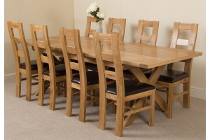 Vermont Solid Oak 200cm-240cm Crossed Leg Extending Dining Table with 8 Yale Solid Oak Dining Chairs [Light Oak and Brown Leather]
