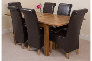 Cotswold Rustic Solid Oak 132cm-198cm Extending Farmhouse Dining Table with 6 Montana Dining Chairs [Brown Leather]