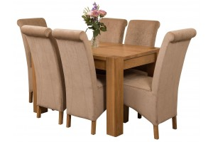 Kuba Solid Oak 125cm Dining Table with 6 Montana Dining Chairs [Beige Fabric]