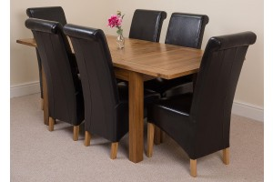 Cotswold Rustic Solid Oak 132cm-198cm Extending Farmhouse Dining Table with 6 Montana Dining Chairs [Black Leather]