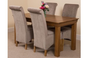 French Chateau Rustic Solid Oak 150cm Dining Table with 4 Montana Dining Chairs [Grey Fabric]