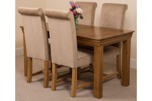 French Chateau Rustic Solid Oak 150cm Dining Table with 4 Washington Dining Chairs [Beige Fabric]