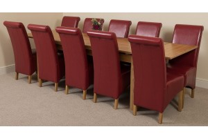 Richmond Solid Oak 200cm-280cm Extending Dining Table with 10 Montana Dining Chairs [Burgundy Leather]