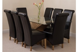 Valencia Oak 200cm Wood and Glass Dining Table with 8 Montana Dining Chairs [Black Leather]