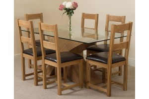 Valencia Oak 160cm Wood and Glass Dining Table with 6 Lincoln Solid Oak Dining Chairs [Light Oak and Brown Leather]