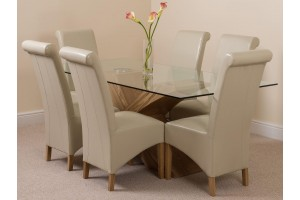 Valencia Oak 200cm Wood and Glass Dining Table with 6 Montana Dining Chairs [Ivory Leather]
