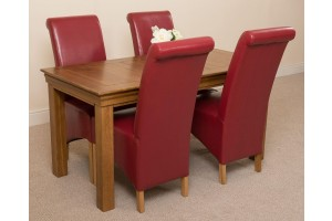 French Chateau Rustic Solid Oak 150cm Dining Table with 4 Montana Dining Chairs [Burgundy Leather]