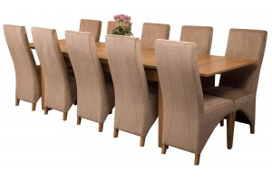 Richmond Solid Oak 200cm-280cm Extending Dining Table with 10 Lola Dining Chairs [Beige Fabric]