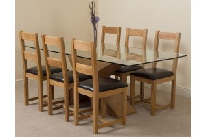 Valencia Oak 200cm Wood and Glass Dining Table with 6 Lincoln Solid Oak Dining Chairs [Light Oak and Brown Leather]