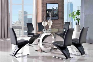 Channel Glass and Polished Steel Dining Table with 4 Zed Designer Dining Chairs [Black]