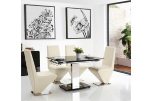 Enzo 80-120cm Extending Glass Dining Table with 6 Rita Designer Dining Chairs [Ivory]