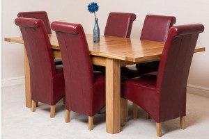 Seattle Solid Oak 150cm-210cm Extending Dining Table with 6 Montana Dining Chairs [Burgundy Leather]