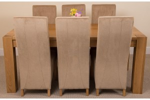 Kuba Solid Oak 180cm Dining Table with 6 Lola Dining Chairs [Beige Fabric]