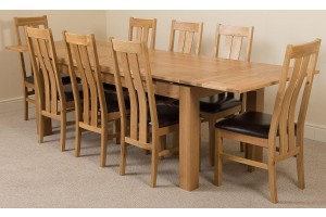 Richmond Solid Oak 200cm-280cm Extending Dining Table with 8 Princeton Solid Oak Dining Chairs [Light Oak and Brown Leather]