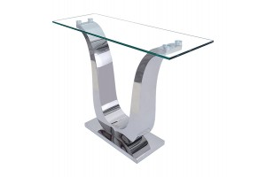 Alexandria Chrome and Glass Console Table