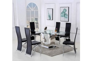 Alexandria Glass and Chrome 180 cm Dining Table and 8 Black Alisa Chairs Set