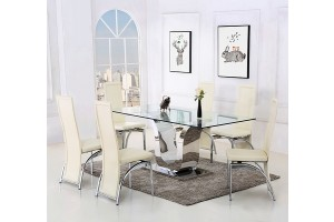 Alexandria Glass and Chrome 180 cm Dining Table and 6 Ivory Alisa Chairs Set