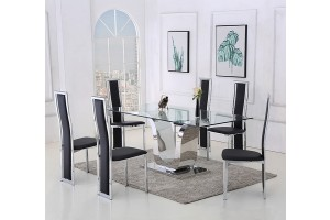 Alexandria Glass and Chrome 180 cm Dining Table and 4 Black Elsa Chairs Set