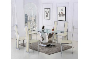 Alexandria Glass and Chrome 180 cm Dining Table and 4 Ivory Elsa Chairs Set
