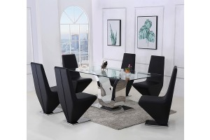 Alexandria Glass and Chrome 180 cm Dining Table and 4 Black Rita Chairs Set