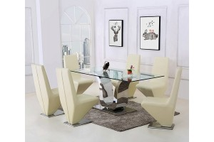 Alexandria Glass and Chrome 180 cm Dining Table and 6 Ivory Rita Chairs Set