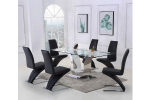 Alexandria Glass and Chrome 180 cm Dining Table and 6 Black Zed Chairs Set