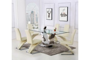 Alexandria Glass and Chrome 180 cm Dining Table and 6 Ivory Zed Chairs Set