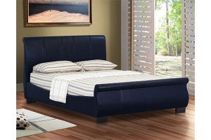 Front of Chelsea 4ft 6 Double Faux Black Leather Designer Bed