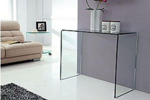 Crystal Curved Glass Console Table [Small]
