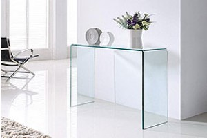 Crystal Curved Glass Console Table [Large]