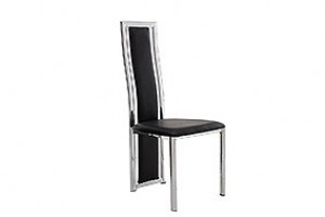 Elsa Designer Dining Chairs [Black Leather And Chrome]