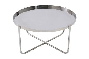 Ember Round Silver Chrome Tray Top Coffee Table