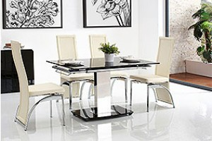 Enzo 80-120cm Extending Glass Dining Table with 6 Alisa Dining Chairs [Ivory]