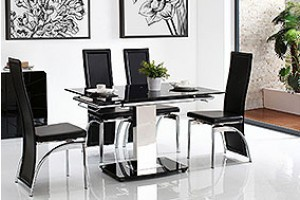 Enzo 80-120cm Extending Glass Dining Table with 4 Alisa Dining Chairs [Black]